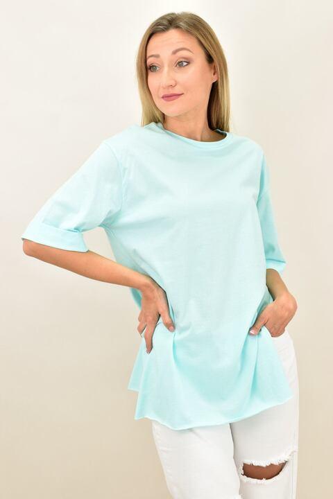 Γυναικεία μπλούζα μονόχρωμη με ανοίγματα - Σιέλ