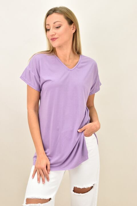Γυναικεία μπλούζα μονόχρωμη με ανοίγματα V - Λιλά