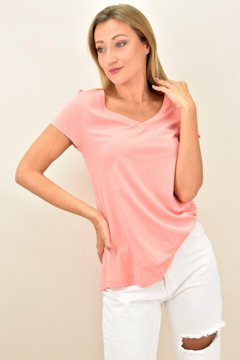 Γυναικεία μπλούζα κοντομάνικη με V λαιμόκοψη - Κοραλί