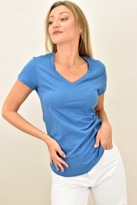 Γυναικεία μπλούζα με V λαιμόκομψη - Μπλε