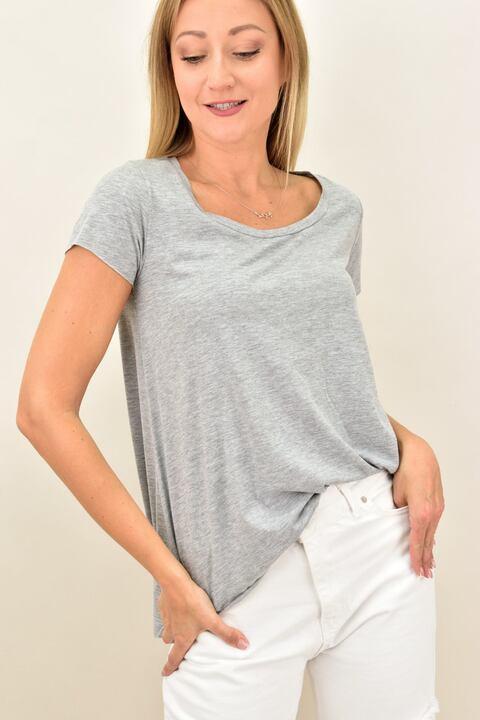 Γυναικεία μπλούζα με στρογγυλή λαιμόκομψη - Γκρι