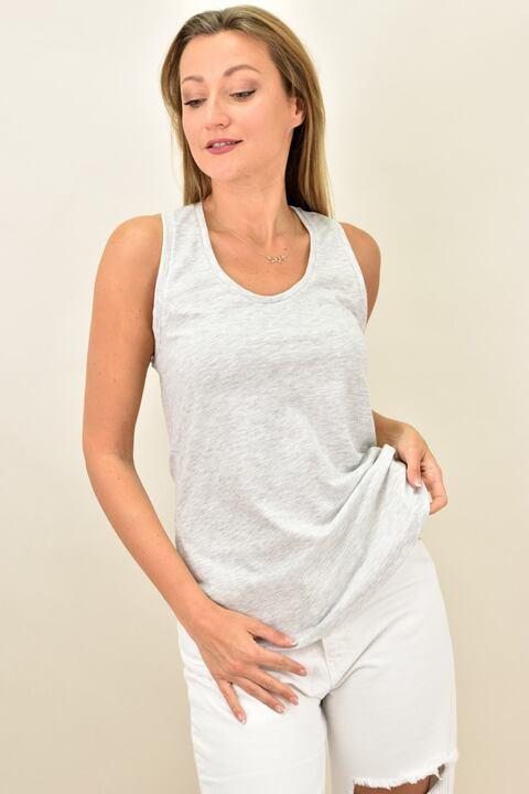 Γυναικείο αμάνικο μπλουζάκι με αθλητική πλάτη - Γκρι