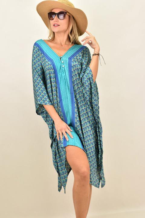 Γυναικείο μεταξωτό boho φόρεμα με V - Γαλάζιο