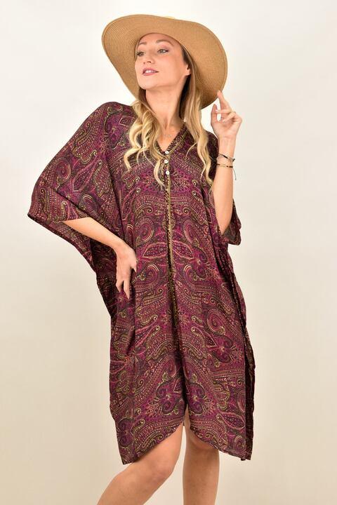 Γυναικείο μεταξωτό boho φόρεμα με V - Μπορντώ