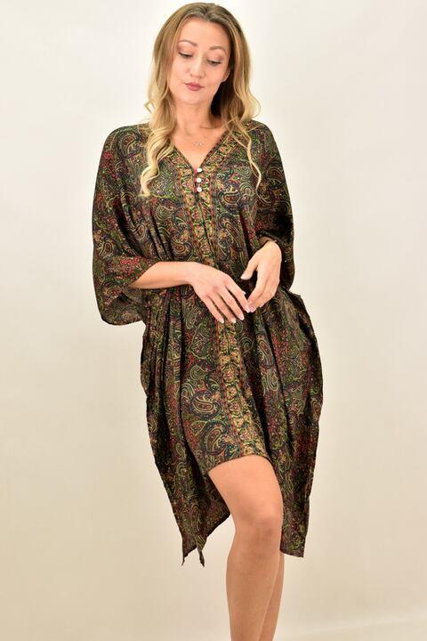 Γυναικείο μεταξωτό boho φόρεμα με V - Λαδί