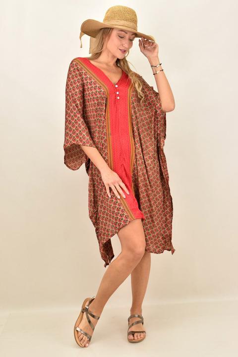 Γυναικείο μεταξωτό boho φόρεμα με V - Κόκκινο