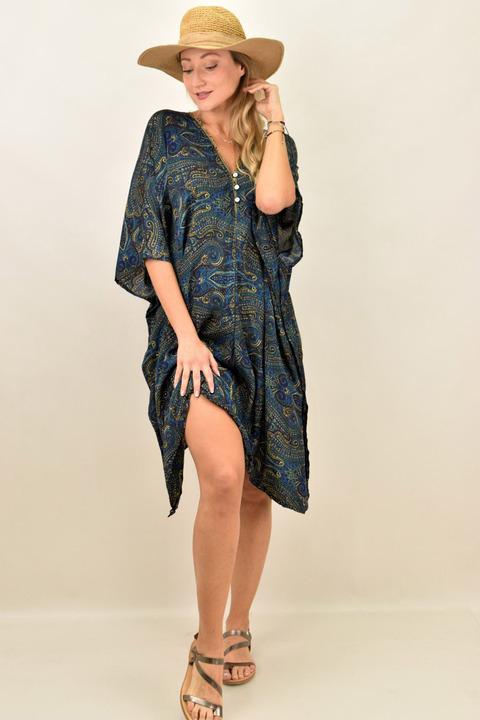 Γυναικείο μεταξωτό boho φόρεμα με V - Μπλέ σκούρο