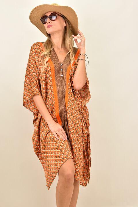 Γυναικείο μεταξωτό boho φόρεμα με V - Πορτοκαλί