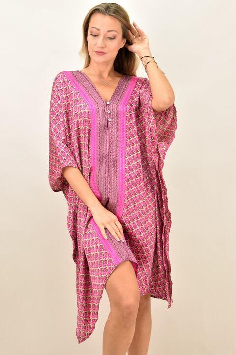 Γυναικείο μεταξωτό boho φόρεμα με V - Ρόζ