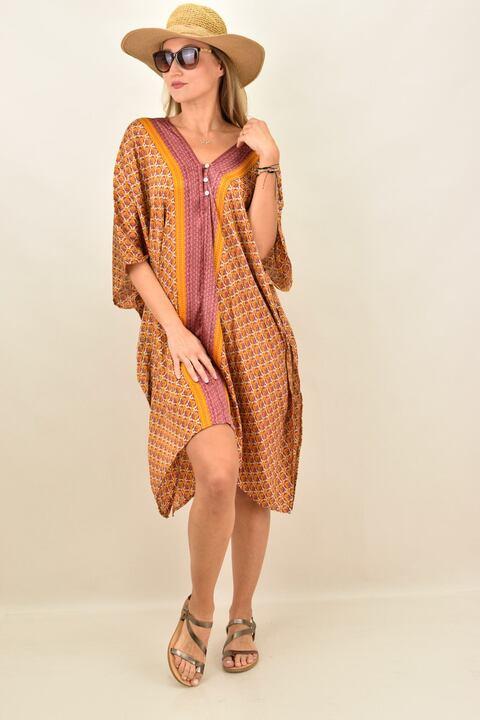 Γυναικείο μεταξωτό boho φόρεμα με V - Κίτρινο