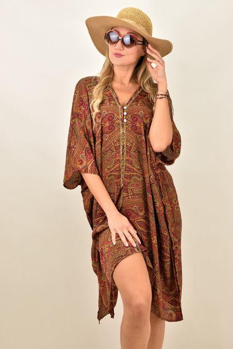 Γυναικείο μεταξωτό boho φόρεμα με V - Καφέ
