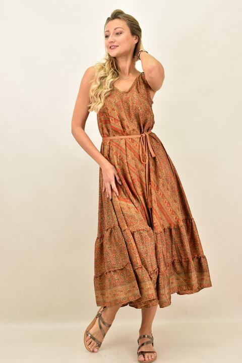 Γυναικείο boho φόρεμα με λεπτή τιράντα μεταξωτό - Καφέ