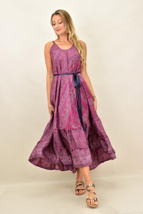 Γυναικείο boho φόρεμα με λεπτή τιράντα μεταξωτό - Μώβ