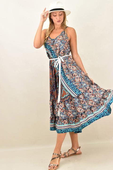 Γυναικείο boho φόρεμα με λεπτή τιράντα μεταξωτό - Μπλε