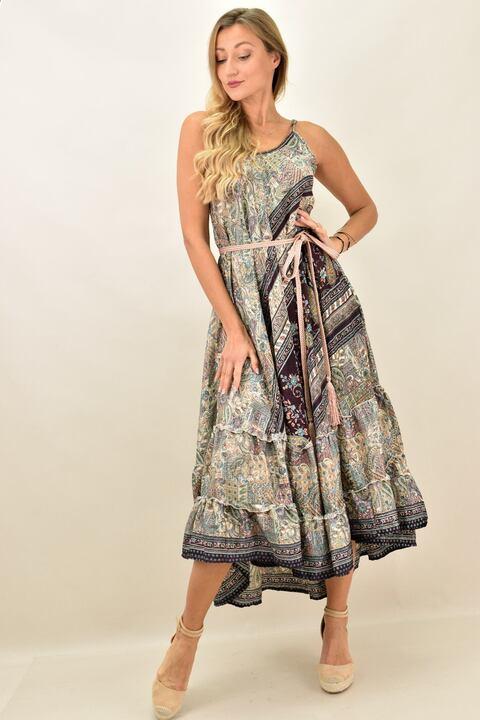 Γυναικείο boho φόρεμα με λεπτή τιράντα μεταξωτό - Μπεζ