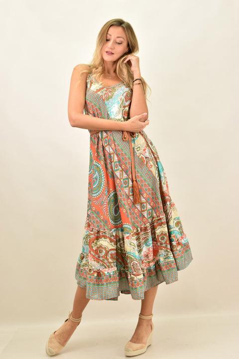 Γυναικείο boho φόρεμα με λεπτή τιράντα μεταξωτό -