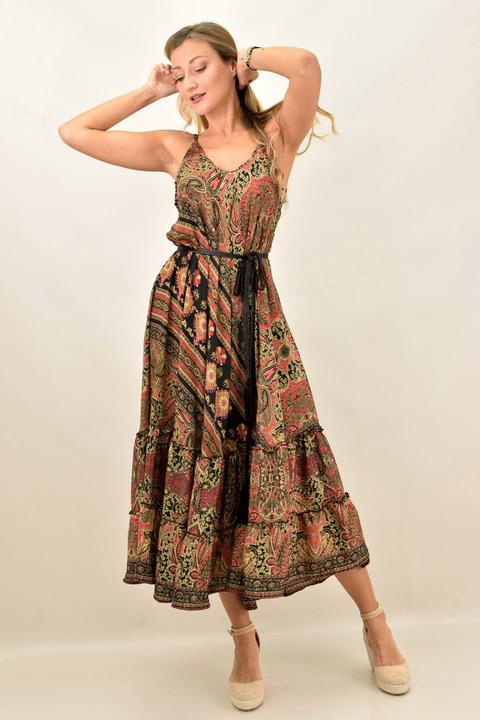 Γυναικείο boho φόρεμα με λεπτή τιράντα μεταξωτό - Μαύρο