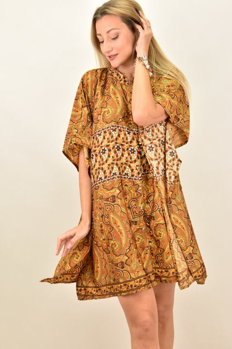 Γυναικείο μεταξωτό boho φόρεμα με κουμπια και άνοιγμα στο πλάι - Καφέ