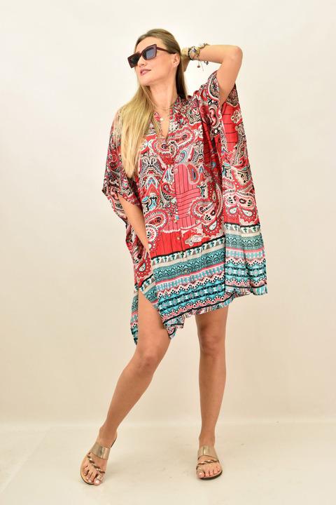 Γυναικείο μεταξωτό boho φόρεμα με κουμπια και άνοιγμα στο πλάι - Κόκκινο