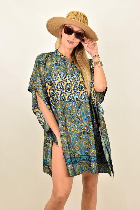 Γυναικείο μεταξωτό boho φόρεμα με κουμπια και άνοιγμα στο πλάι - Μπλε