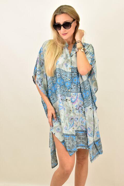 Γυναικείο μεταξωτό boho φόρεμα με κουμπια και άνοιγμα στο πλάι - Γαλάζιο