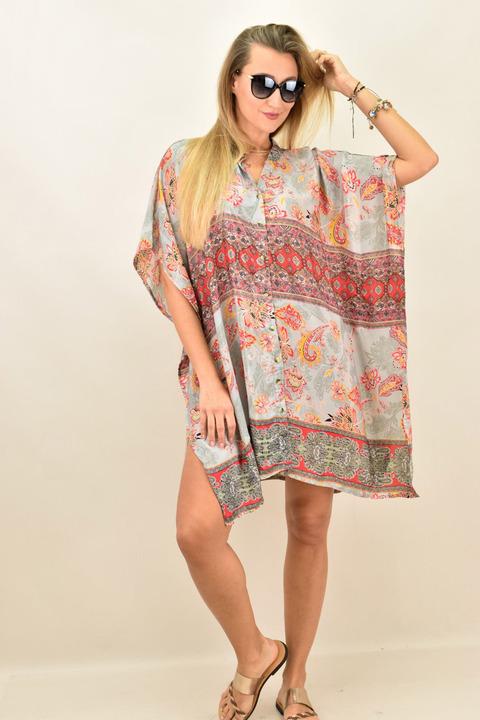 Γυναικείο μεταξωτό boho φόρεμα με κουμπια και άνοιγμα στο πλάι - Γκρι