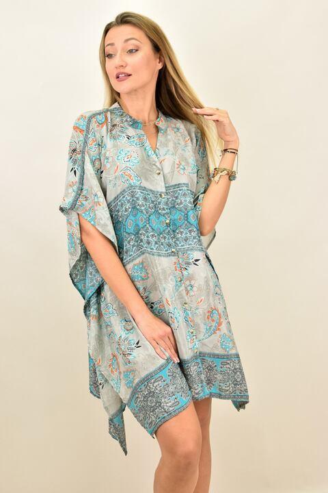 Γυναικείο μεταξωτό boho φόρεμα με κουμπιά και άνοιγμα στο πλάι - Γκρι