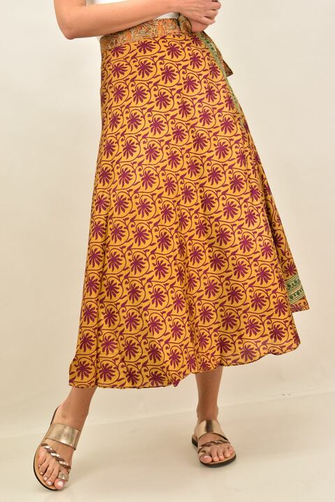 Γυναικεία φούστα μεταξωτή διπλής όψεως boho - Μουσταρδί