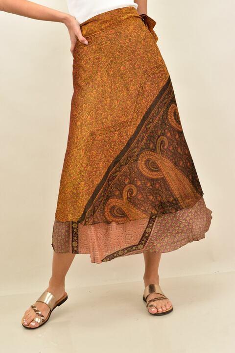 Γυναικεία φούστα μεταξωτή διπλής όψεως boho - Καφέ