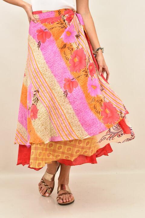 Γυναικεία φούστα μεταξωτή διπλής όψεως boho - Ρόζ