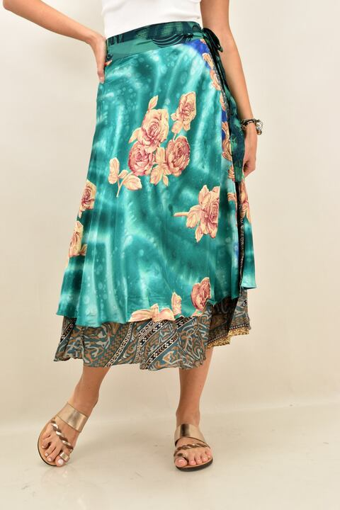 Γυναικεία φούστα μεταξωτή διπλής όψεως boho - Πετρόλ