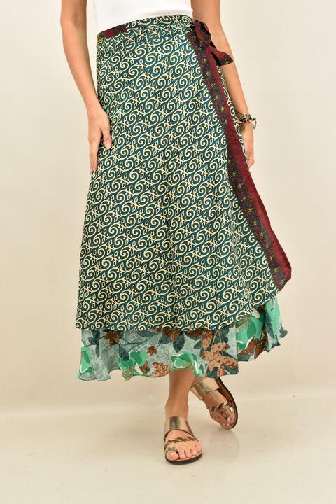 Γυναικεία φούστα μεταξωτή διπλής όψεως boho - Κυπαρισσί