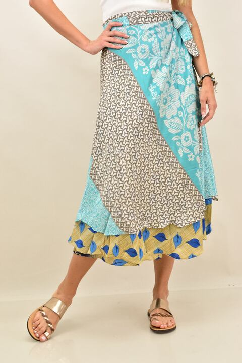Γυναικεία φούστα μεταξωτή διπλής όψεως boho - Μπλε