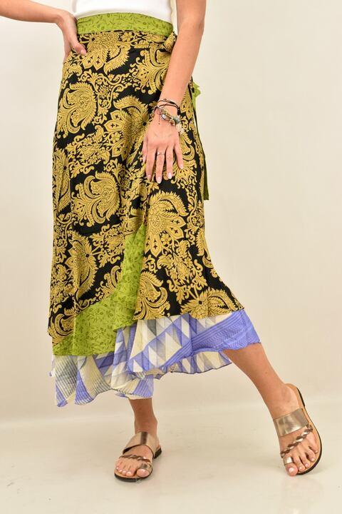 Γυναικεία φούστα μεταξωτή διπλής όψεως boho - Πράσινο