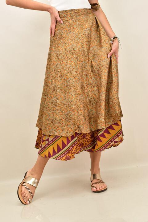 Γυναικεία φούστα μεταξωτή διπλής όψεως boho - Πορτοκαλί