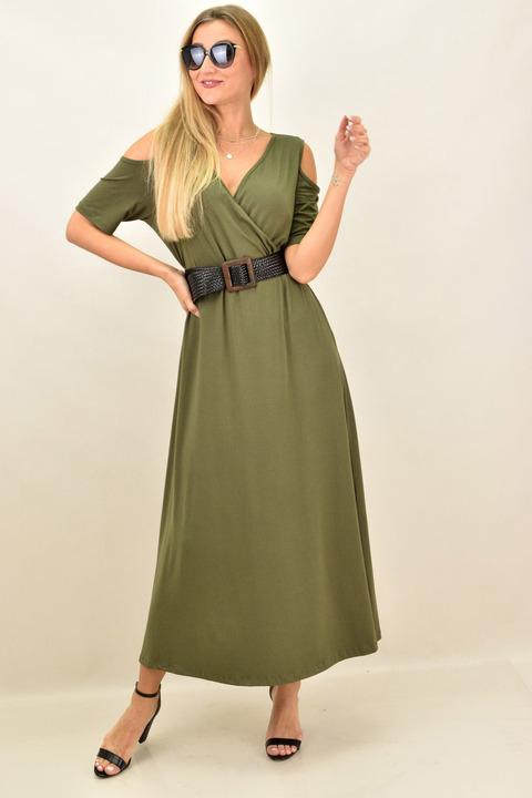 Κρουαζέ φόρεμα με άνοιγμα στους ώμους - Χακί