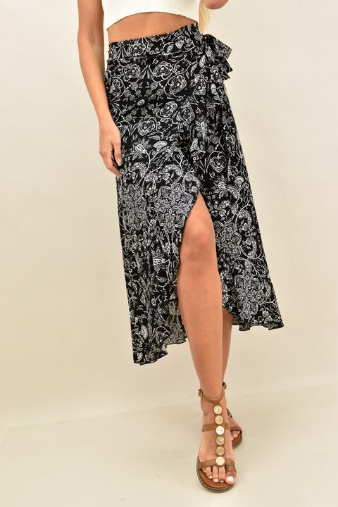 Κρουαζέ φούστα φλοράλ με βολάν  - Μαύρο