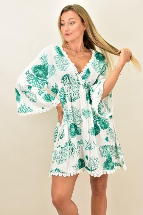 Γυναικείο καφτάνι με όμορφο σχέδιο σε αντίθεση - Πράσινο
