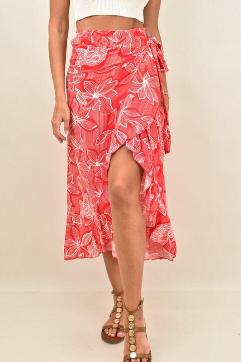 Κρουαζέ φλοράλ φούστα με βολάν  - Κόκκινο