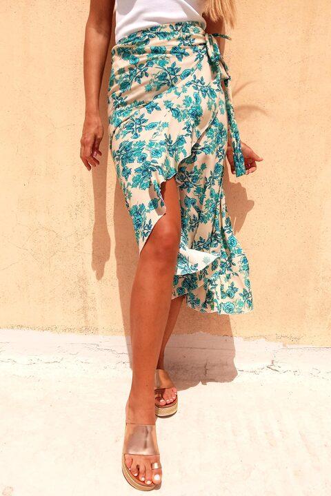 Κρουαζέ φούστα φλοράλ με βολάν  - Εκρού