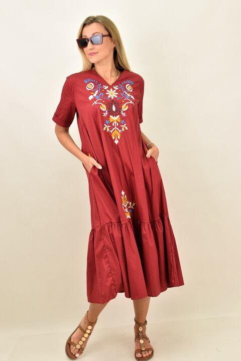 Γυναικείο φόρεμα με κεντιτό σχέδιο λουλούδια oversized - Μπορντώ