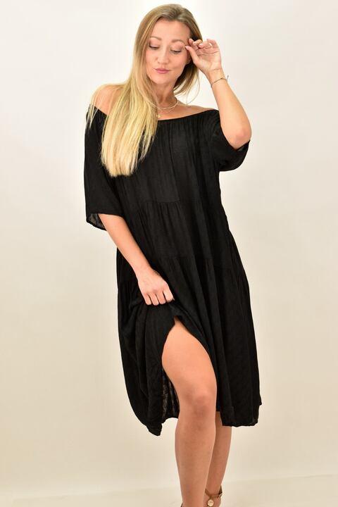 Γυναικείο φόρεμα με έξω ώμους - Μαύρο