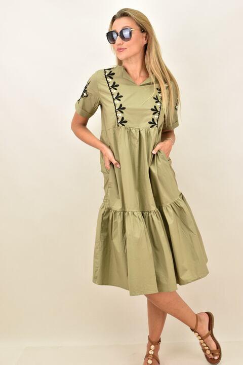 Γυναικείο φόρεμα με κεντητό σχέδιο και για μεγάλα μεγέθη - Χακί