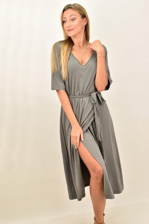Γυναικείο μίντι φόρεμα για μεγάλα μεγέθη - Γκρι