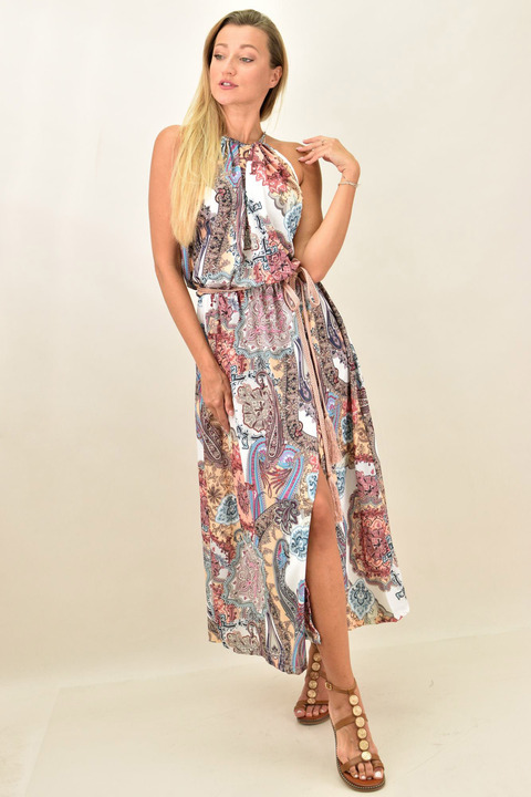 Γυναικείο φόρεμα εμπριμέ - Εκρού