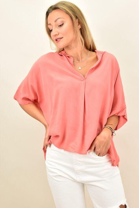 Γυναικεία μπλούζα με V λαιμόκομψη - Κοραλί