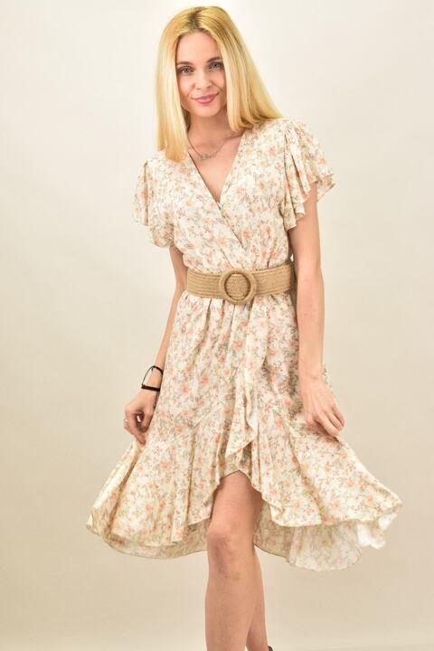 Γυναικείο φλοράλ φόρεμα κρουαζέ  - Μπεζ