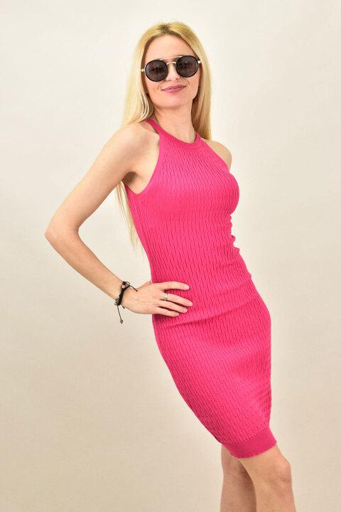 Γυναικείο φόρεμα εφαρμοστό μονόχρωμο - Φούξια