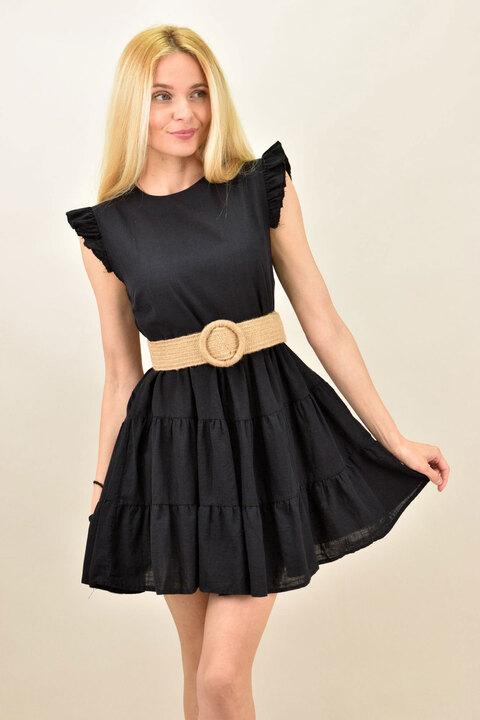 Γυναικειο αμάνικο μονόχρωμο φόρεμα - Μαύρο