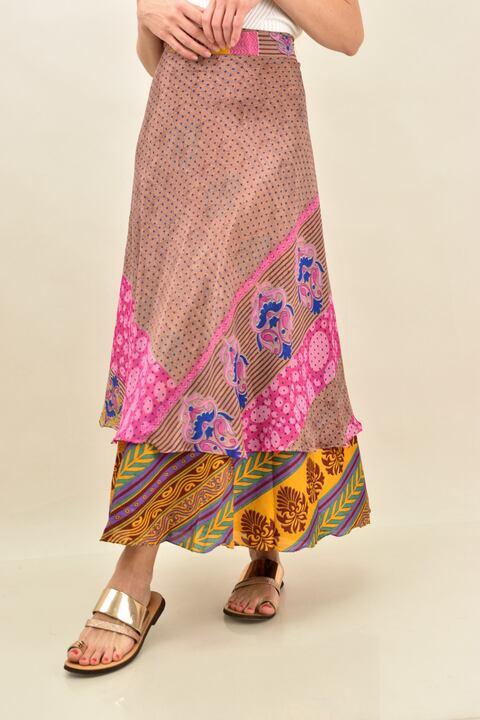 Γυναικεία φούστα μεταξωτή διπλής όψεως boho - Σομόν